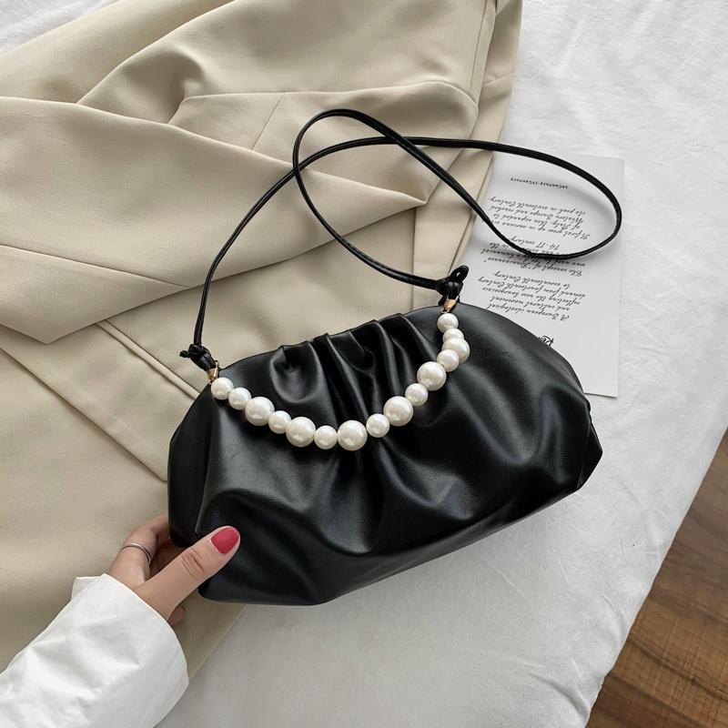 Solid Color Pearl Pleated  Shoulder Bags Armpit Bag 2021 Fashion High-quality Tote Bag Soft Leather Women's Designer Handbag Sac