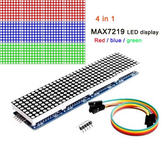 max7219 led microcontroller 4 in 1 display dot matrix module 5v operating voltage for arduino 8x8 dot matrix common MAX7219 dot matrix module 8*8 common cathode 5V, red, blue and green 4 in one LED display with DuPont line