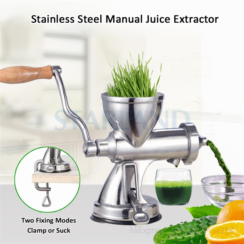 Suction Cup Base Juice Extractor Hand-operated Wheat Grass Juice Squeezer High Juice Yield Stainless Steel Wheatgrass Juicer