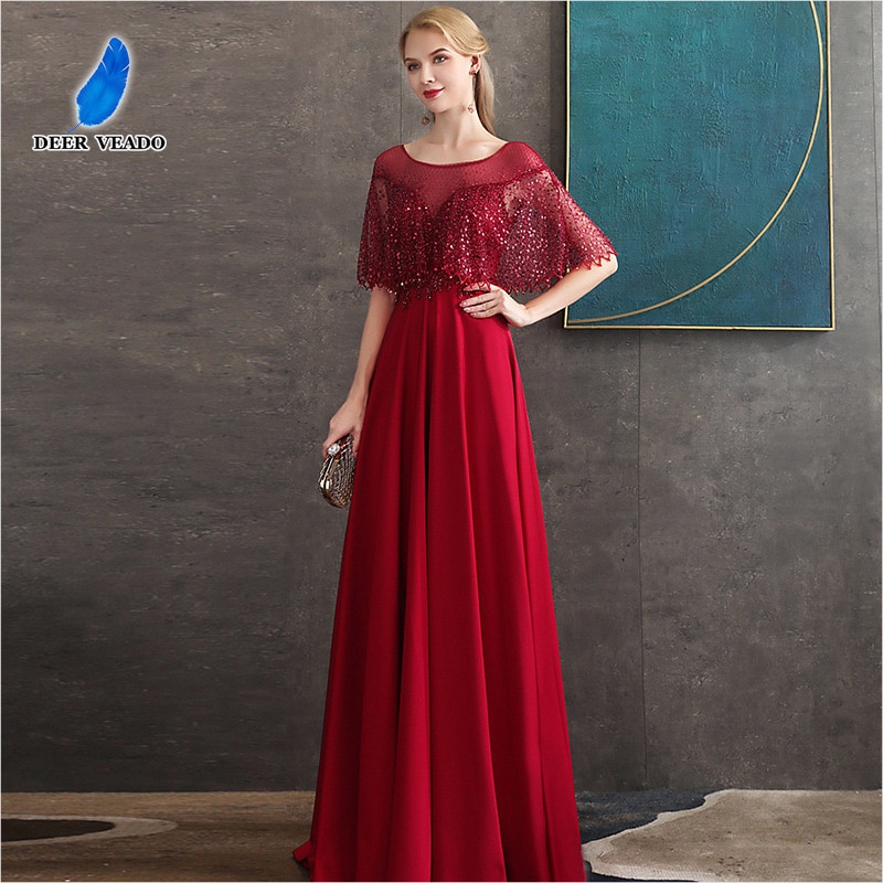 DEERVEADO-فستان حفلة طويل أحمر ، MFY121 ، مجموعة جديدة 2020 ، مطرز بالترتر ، فستان سهرة رسمي
