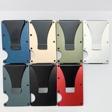 Dropshipping Credit Card Holder Metal Wallet New Aluminium Minimalist Rfid Blocking Slim ID Cardhold