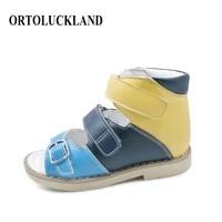 children sandals summer orthopedic shoes for kids toddler breathable anti slip buckle strap flatfeet tough leather footwear