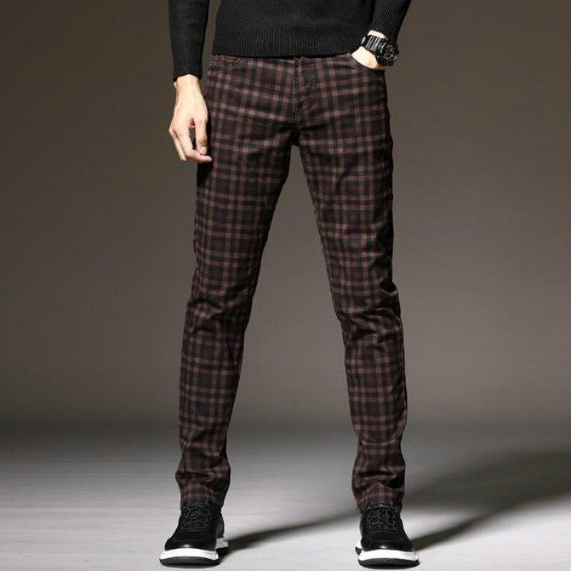 Primavera/outono calças de lápis masculinas calças casuais calças finas da moda coreana calças xadrez calças masculinas listras calças de xadrez