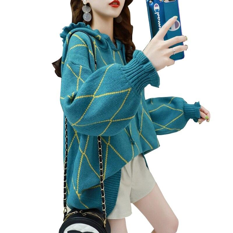 Women Long Sleeves Hooded Knitted Sweater Korean Drawstring Ruffled Pullover enlarge