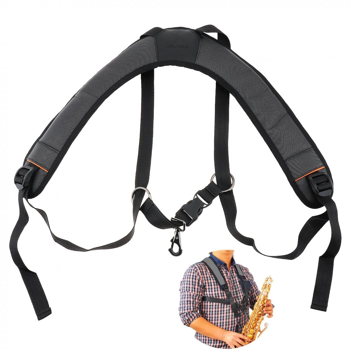 Saxophone Strap Adjustable Oxford Fabric Wider Add Cotton  Sax Holder Double Shoulder with Steel Hook for Alto Tenor Soprano Sax