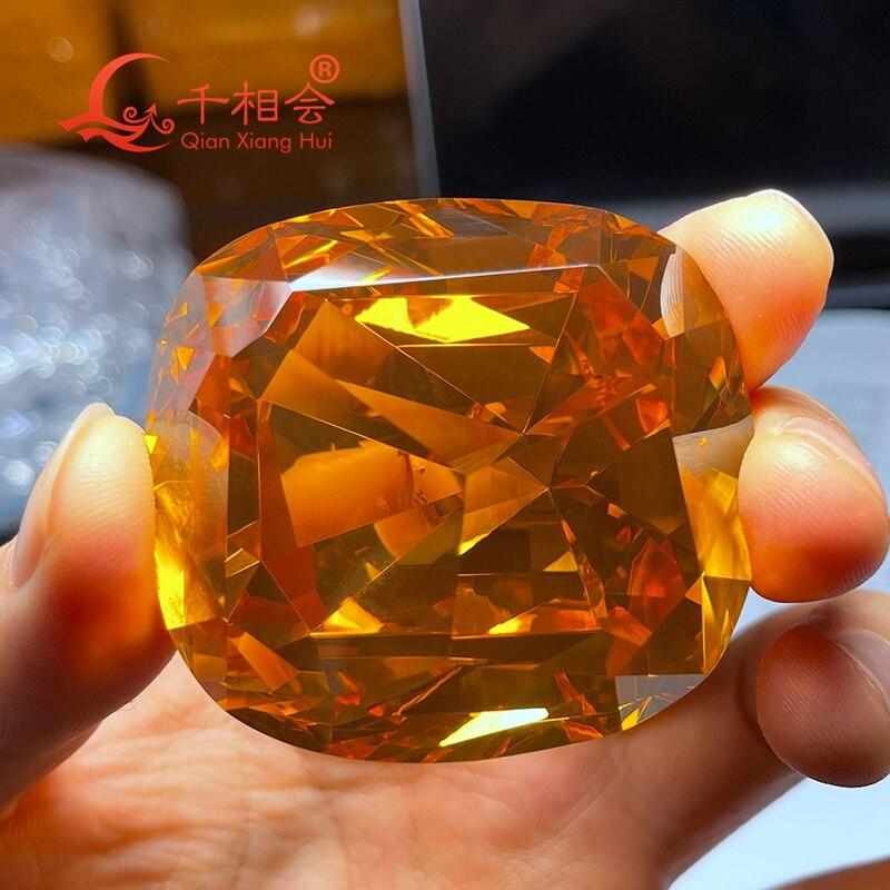 1114ct 49.5*53.6 مللي متر أصفر اللون وسادة شكل الذهبي اليوبيل ديا موند زركون حجر فضفاض تشيكوسلوفاكيا حجر