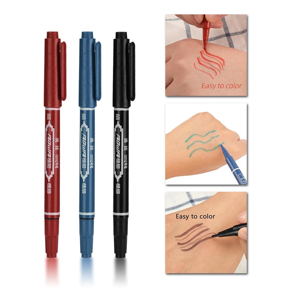 Suministros para tatuajes 3 uds., marcador para tatuaje, marcador de piel, herramienta trazadora de tinta permanente, punta fina y cruda