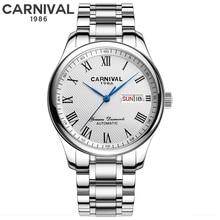 Carnaval Original marque montre hommes automatique auto-vent en acier inoxydable étanche entreprise mécanique hommes montre-bracelet montres