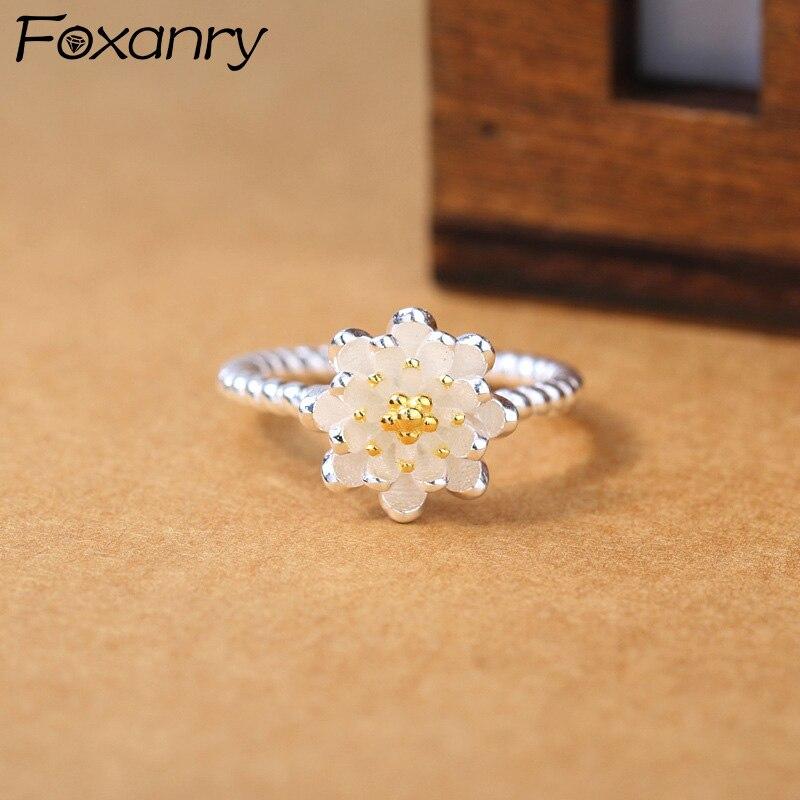 Foxanry 925 prata esterlina lotus flor abertura anéis para as mulheres na moda elegante senhoras noivado artesanal nova moda jóias
