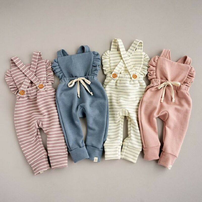 Pudcoco Newborn Baby Girl Stripe Romper Overalls Pants Cotton Soft Coming Home Outfit Clothes Suit F