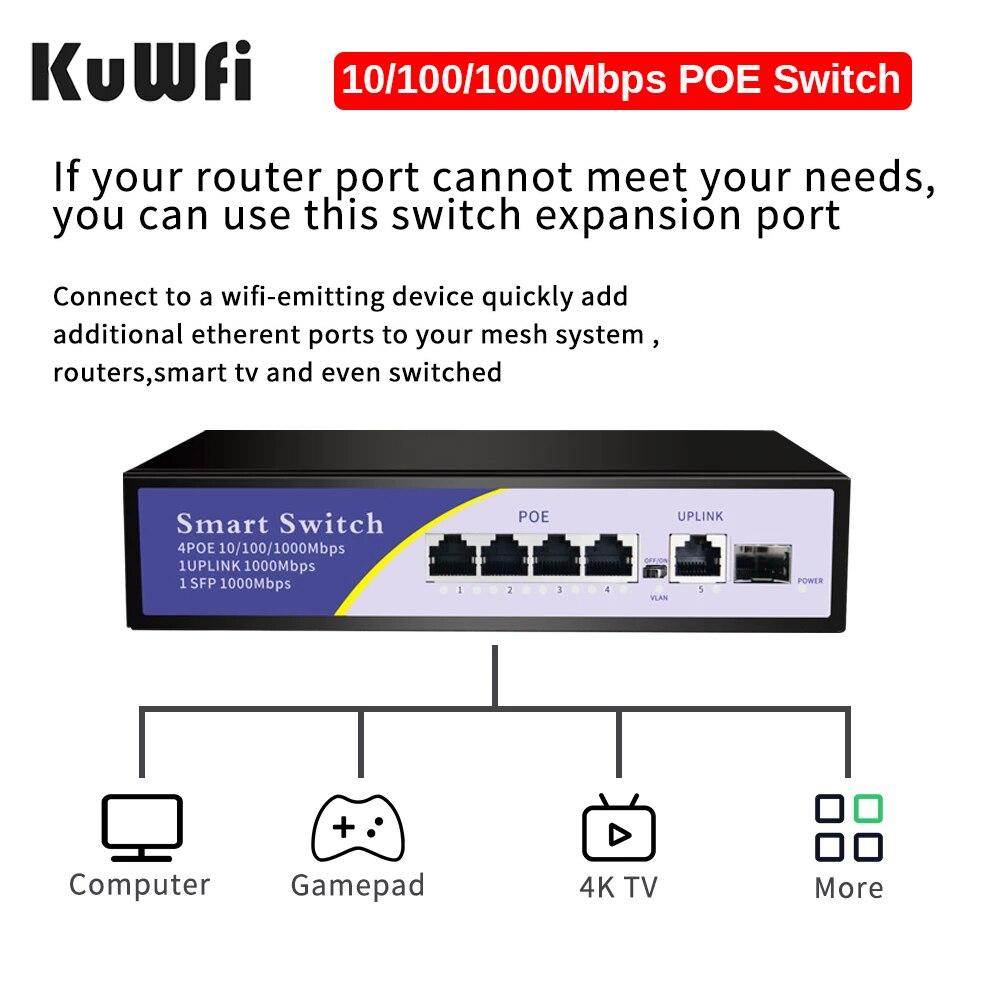 interruptor de rede ethernet 5 portas poe 410 100 1000mbps poe 11000mbps 1 sfp 1000mbps