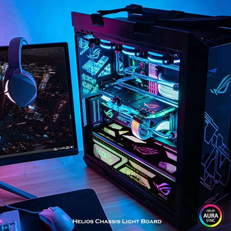 Promo RGB Light Panel Board 4 In 1 For Asus ROG Strix Helios Case, Black Miror LED Decoration MOD Kit, 5V Illusion Lighting Pollution