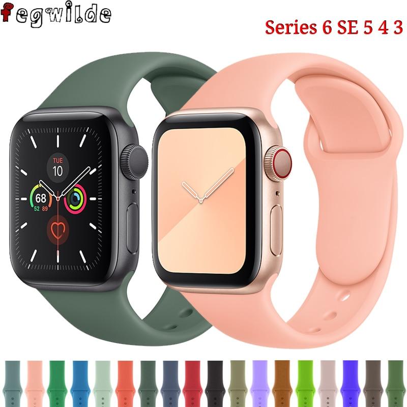 Силиконовый ремешок для apple watch Series 5, 4, 3, SE, 6, спортивные умные часы, браслет, Apple Watch band 44 мм, 40 мм, iwatch band 38 мм, 42 мм Ремешки для часов      АлиЭкспресс
