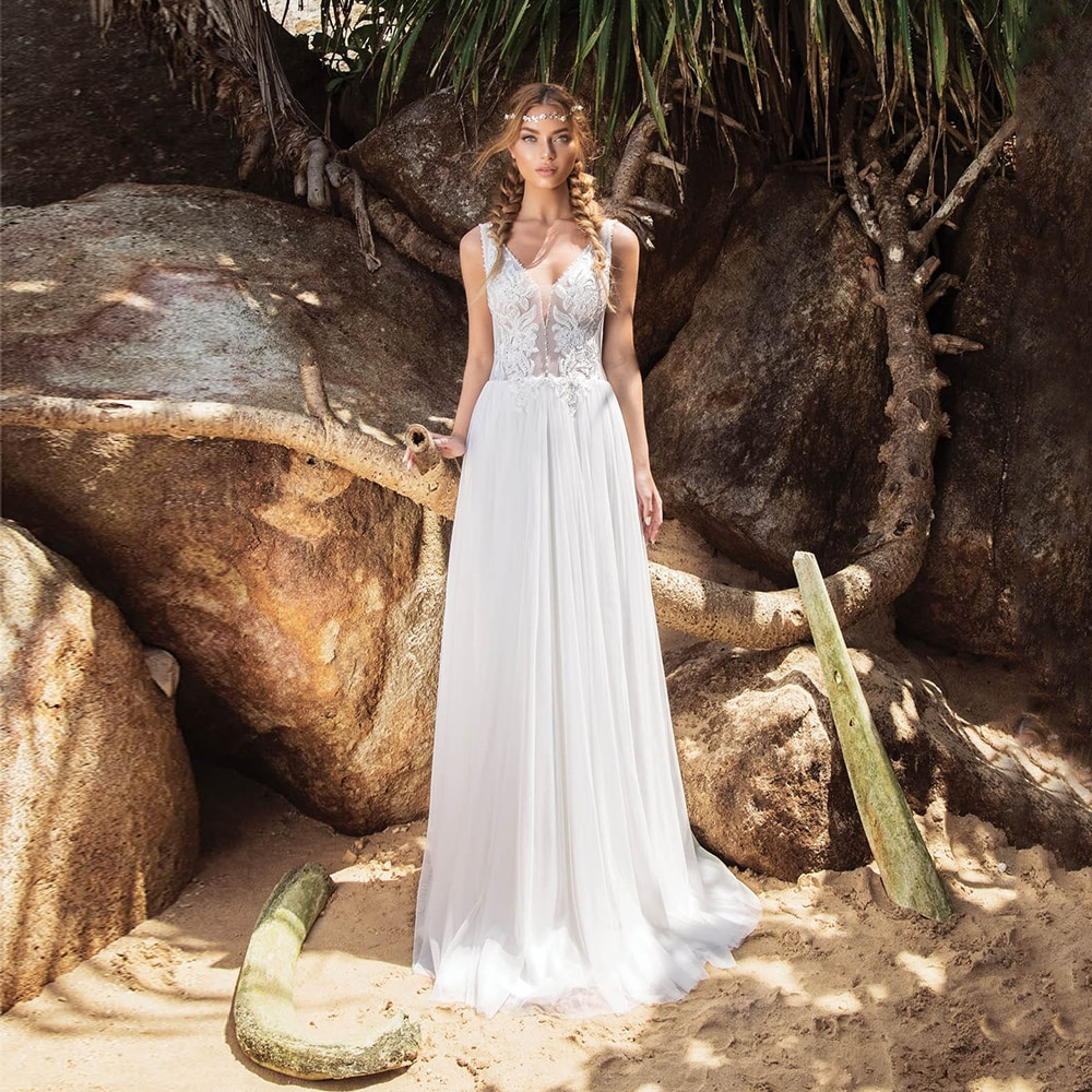 Review Charming Bohemian Wedding Dress Open Back Tulle With Applique V Neck Simple A Line 2021 Hot Sale Sleeveless Civil Bridal Gown