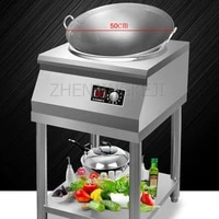 commercial induction cooker concave electric frying stove high power 5000w canteen cauldron stove with shelf kitchen appliance