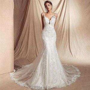 Sexy Spaghetti Strips Mermaid Lace Wedding Dresses Backless Bridal Gowns Custom Made Slim Fishtail Bride Wedding Dress New
