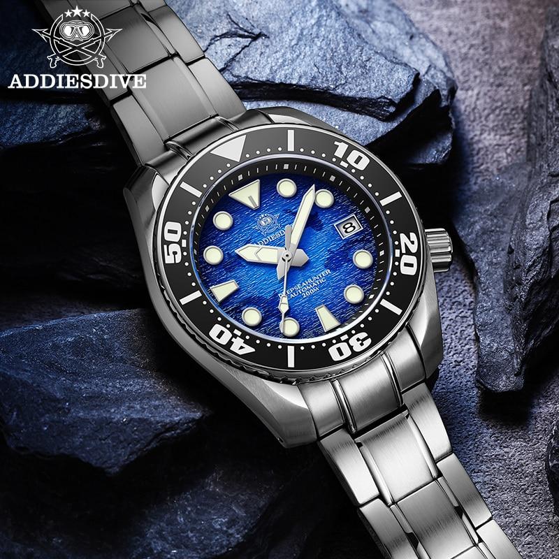 Addie الغوص الرجال الفولاذ المقاوم للصدأ ساعة معصم AD2102 الأزرق الداكن الهاتفي سوبر مضيئة ساعة 200 متر الغوص NH35 ساعات أوتوماتيكية