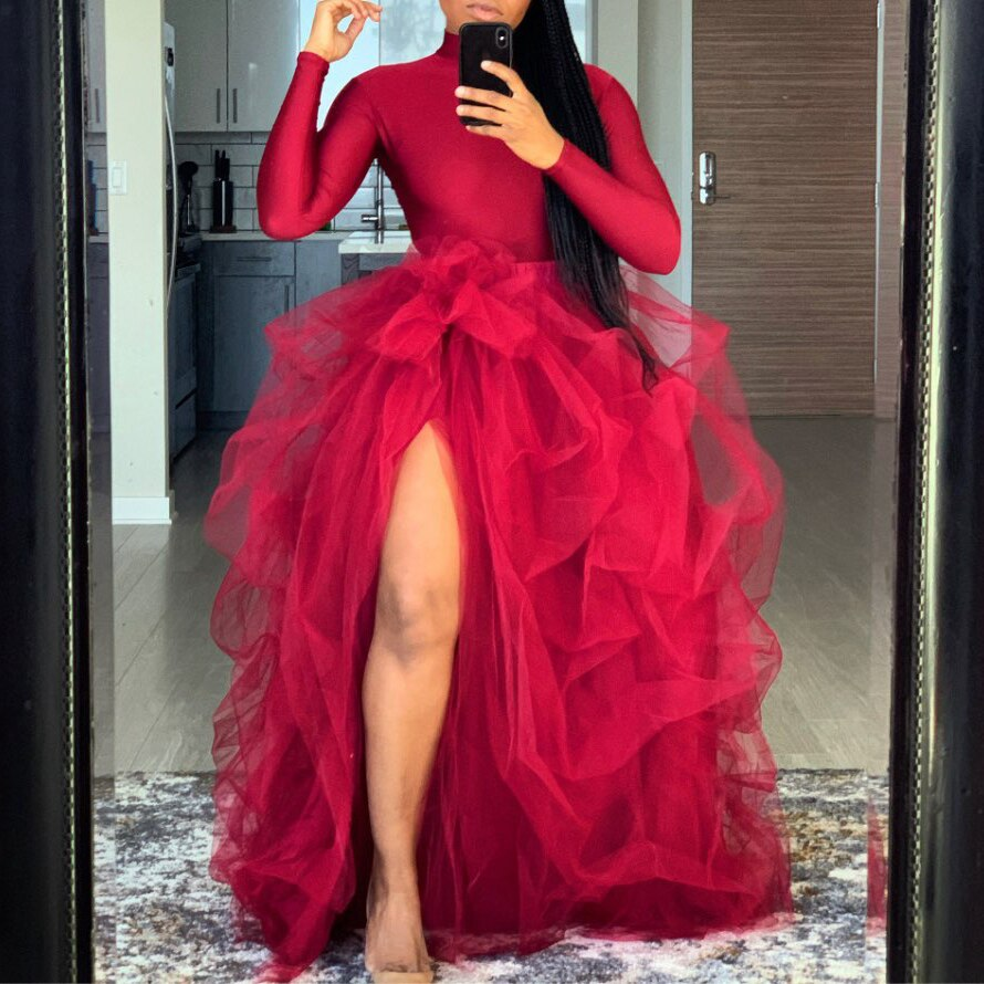 Ins التنانير الموضة تول princesa رداء دي ماري مخصص منتفخ تنورة طويلة ماكسي عالية شق امرأة توتو تنورة