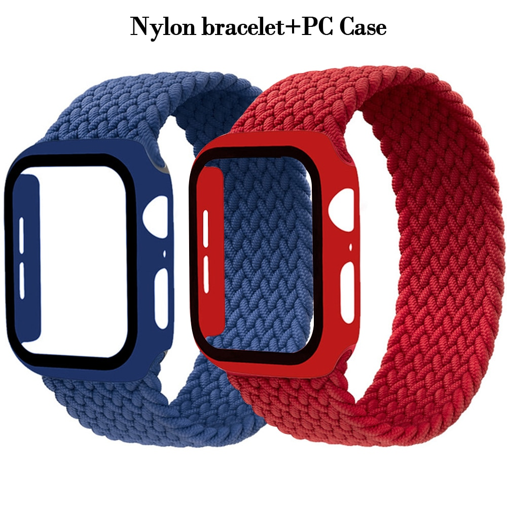 1 1 offical strap for apple watch series 6 5 se 4 braided solo loop 40mm 44mm woven watchbands for iwatch 3 2 1 38mm 42mm strap Solo Loop Braided strap For Apple Watch Band 44mm 40mm 42mm 38mm Elastic Nylon bracelet+PC Case iWatch series 6 5 4 3 se strap