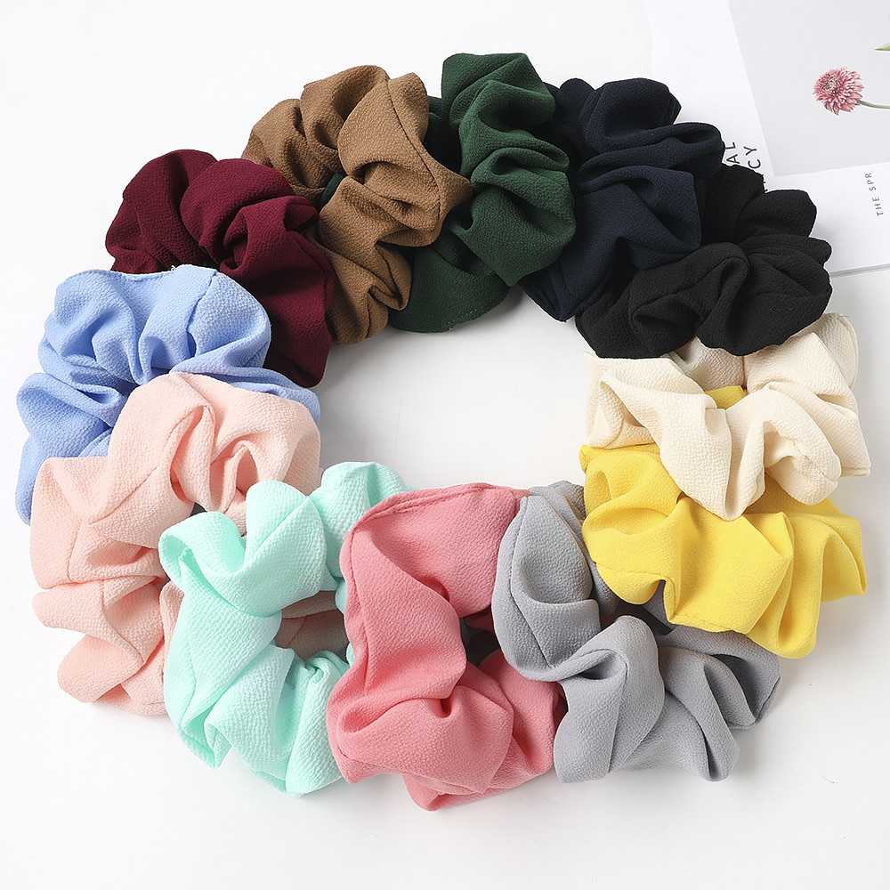 12pcs/lot Bulk Sale Girl Hair Ties 2020 New Brand Scrunches Pack Cute Rubber Bands For Woman Scrunch Set
