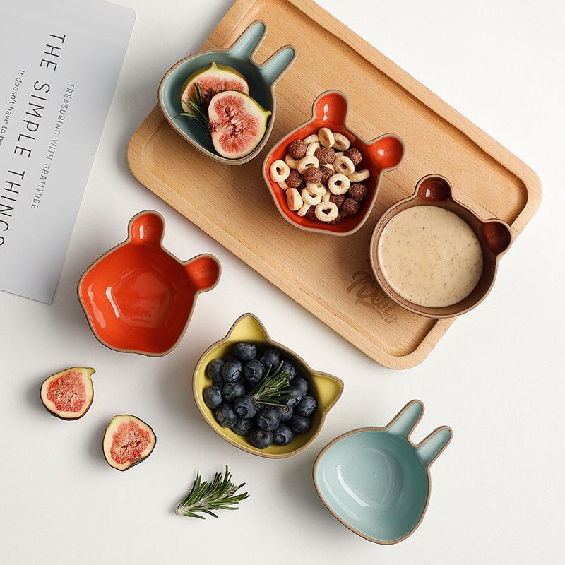 لطيف الكرتون السيراميك طبق صغير المنزلية النكهة طبق صلصة الفاكهة الجوز أطباق الإبداعية وجبة خفيفة البذور وعاء وعاء قطة أدوات المائدة شواء