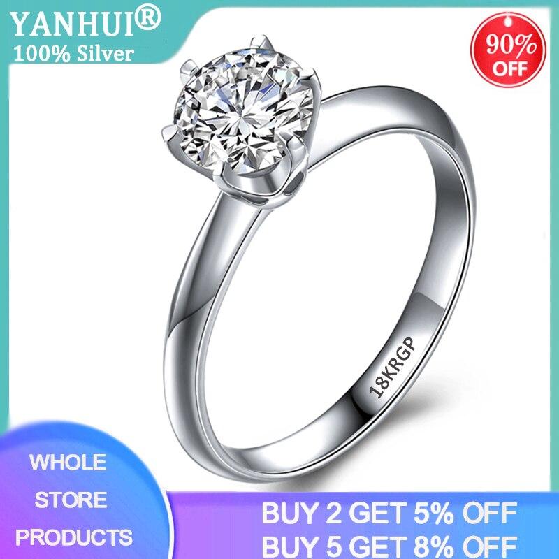 95% de desconto! Anel de luxo feminino, anel de luxo solitário 2.0ct zircônia diamante 925 prata 18k anéis de casamento de ouro branco para mulheres