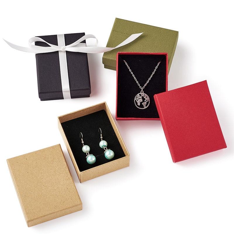 12 Uds caja de cartón rectangular para joyería caja de regalo para joyería anillo de exhibición Almacenamiento de collares caja organizadora de joyería 9x7x3cm