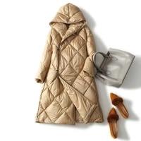 diamond lattice medium length down jacket