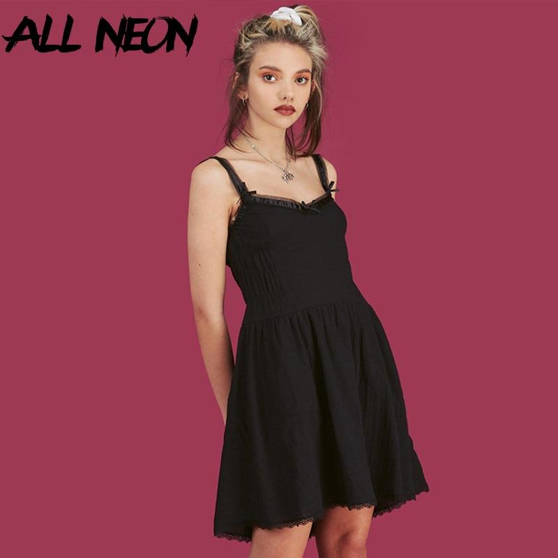 AliExpress - ALLNeon E Girl Aesthetics Straped Summer Dresses Y2K Fashion Sleeveless A-line Ruched Mini Dress V-neck Vintage White Dress 2021