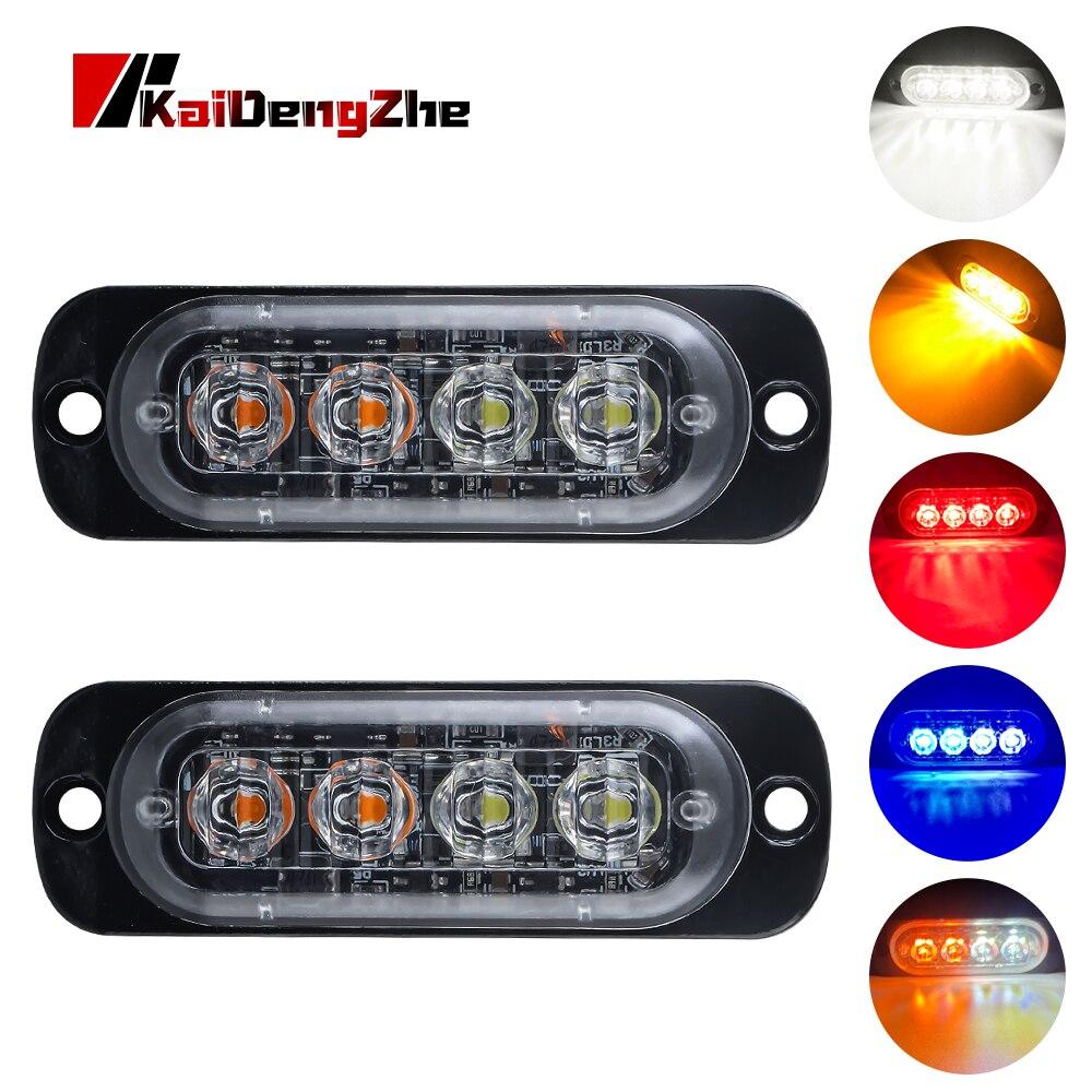 Ultra Thin 4 Chips Car LED Strobe Light Emergency Light Grill Breakdown Auto Flashing For SUV Truck Motorcycle 12-24V Lightbar