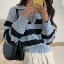 Korean Chic Sweater Pullover Autumn Simple  Polo Collar Pullover Loose Stripe Casual Long Sleeve Kni