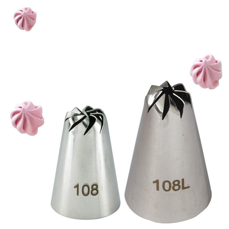 #108 Russian Drop Rose Icing Piping Nozzles Stainless Steel Flower Mouth Cream Pastry Tips Nozzles Bag Cake Decorating Tools