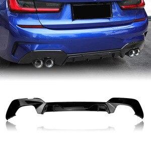Для BMW G20 G28 М Спорт 2019 2020 диффузор, губа на задний бампер спойлер Глянцевая квадратной формы