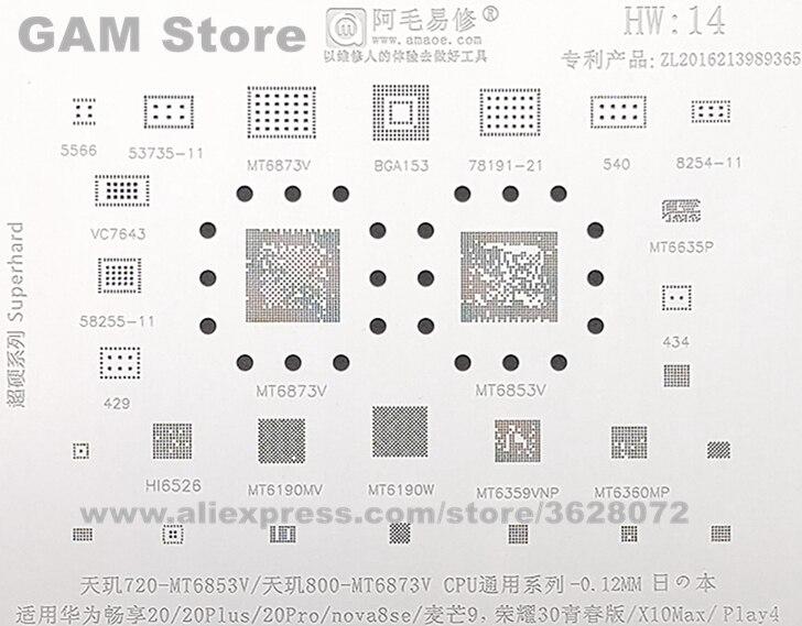 Amaoe HW14 BGA Schablone MT6853V MT6873V CPU IC Für Huawei 20Plus 20Pro Nova8se X10Max Chip Reball Solder Zinn Anlage net Stahl Mesh