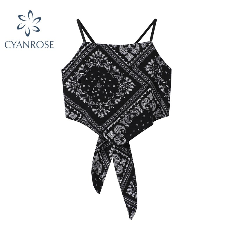 2021 New Summer Fashion Sexy Wrapped Chest Printed Inverted Triangle Sleeveless Top Streetwear Bohem
