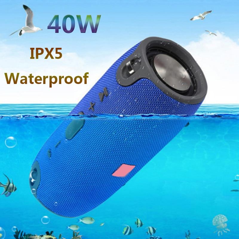 مكبر صوت بلوتوث عالي الطاقة 40 وات ، راديو FM ، مقاوم للماء ، عمود ، مضخم صوت سوبر باس ، متوافق مع الكمبيوتر ، صندوق صوت BT AUX TF
