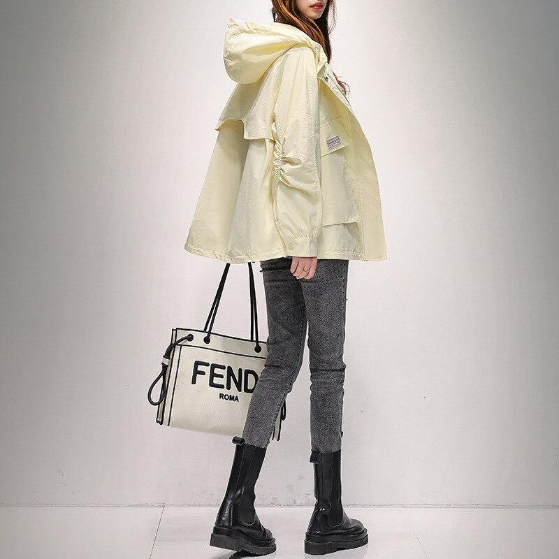 Красивое модное женское пальто, весеннее, элегантное, женское длинное Свободное пальто с капюшоном, пальто для осени в Корейском стиле