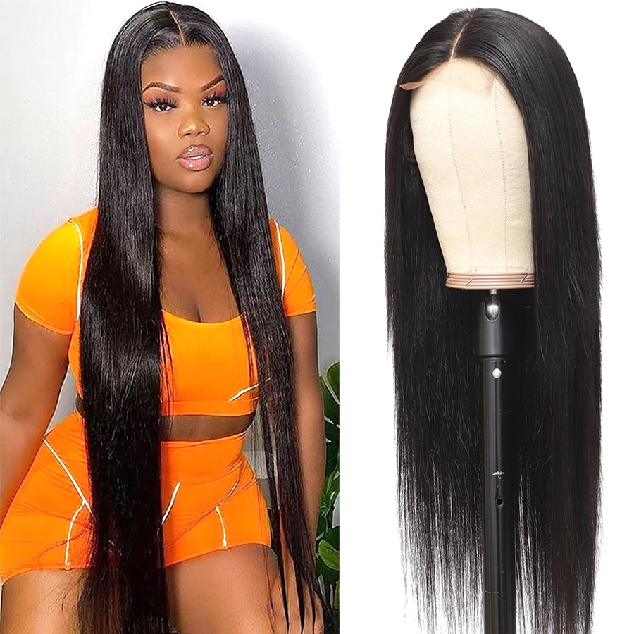 Beaushine Hair 30 inch Straight Human Hair Wigs For Women Brazilian Straight Lace Closure Wig 250 De
