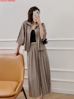 spring and summer miyake pleated three dimensional pocket wide leg straight leg pants suit two piece set pleats trousers set
