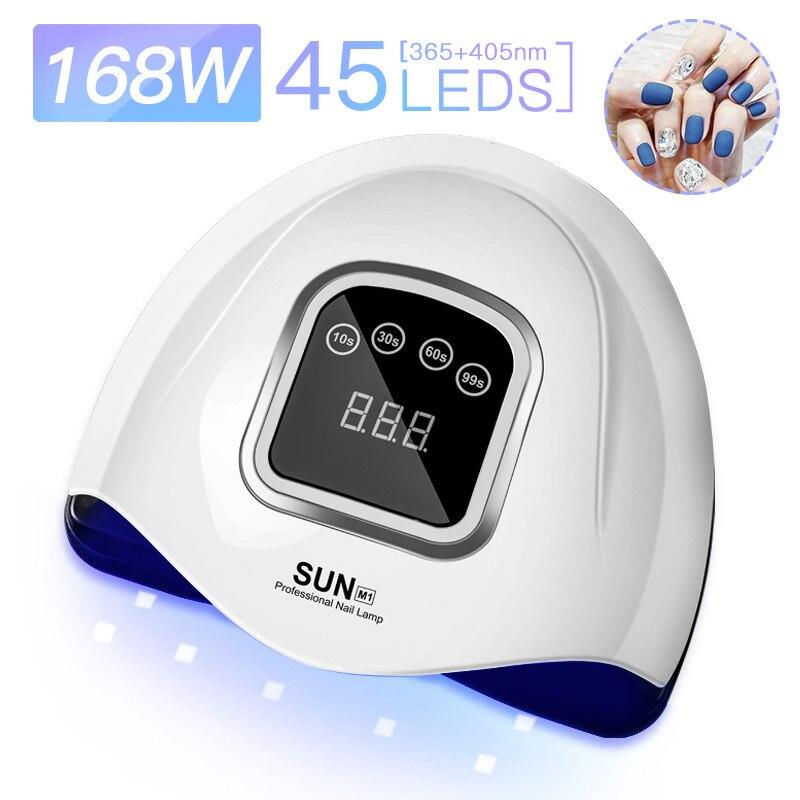 168w de alta potência secadores de unhas quatro-velocidade inteligente lâmpada led uv com 45 leds para todos os géis cozimento luz terapia lâmpada do prego plug eua