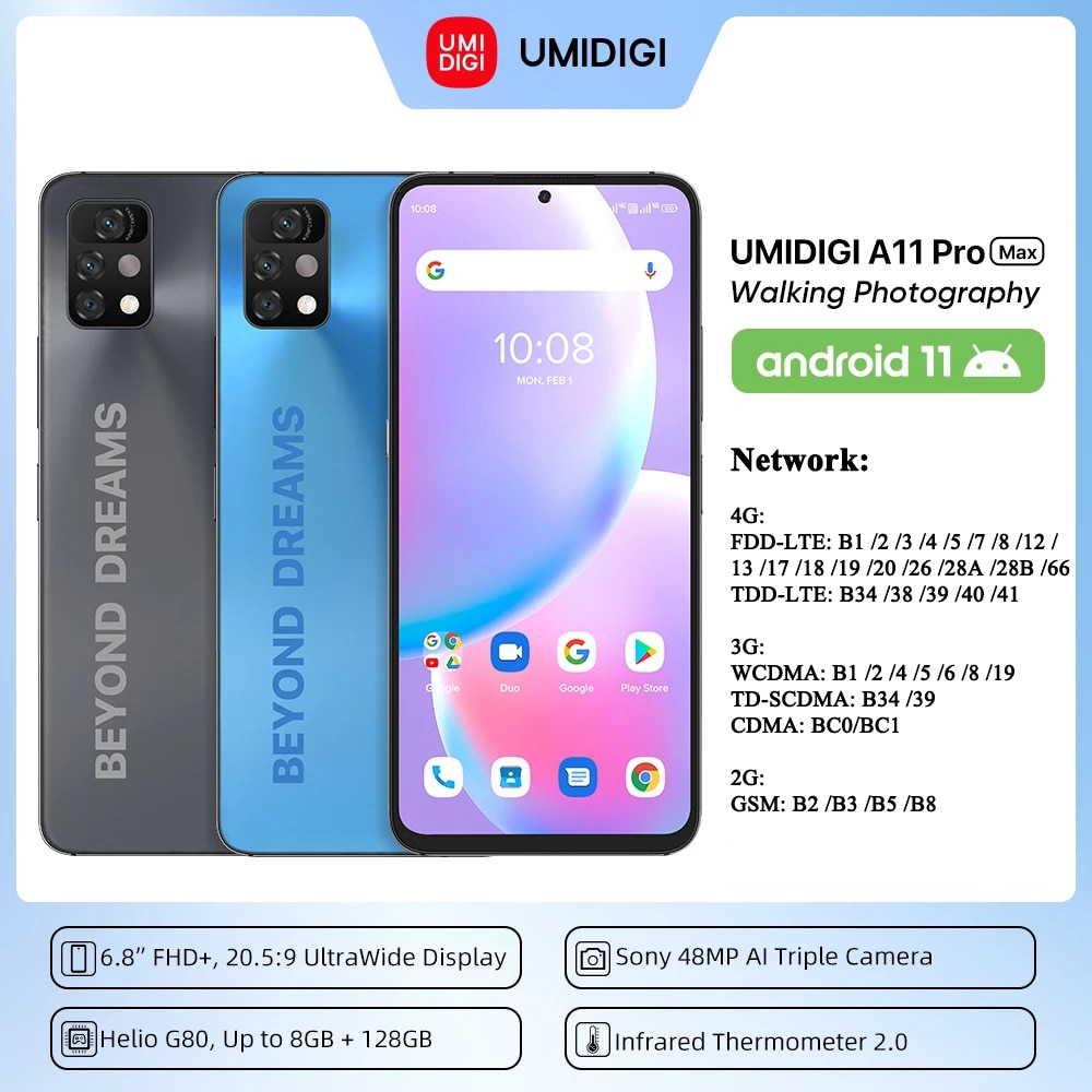 UMIDIGI A11 Pro Max Android 11 Mobile Phone 8GB+128GB Helio G80 Smartphone Global Version 4G LTE Cellphone Infrared Thermometer