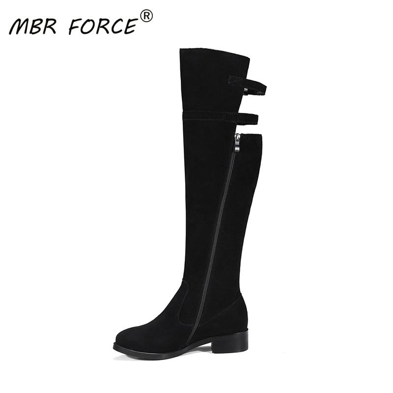 MBR FORCE 고품질 암소 스웨이드 겨울 숙녀 둥근 발가락 독특한 디자인 사이드 지퍼 내마 모성 고무 단독 블랙 높은 부츠