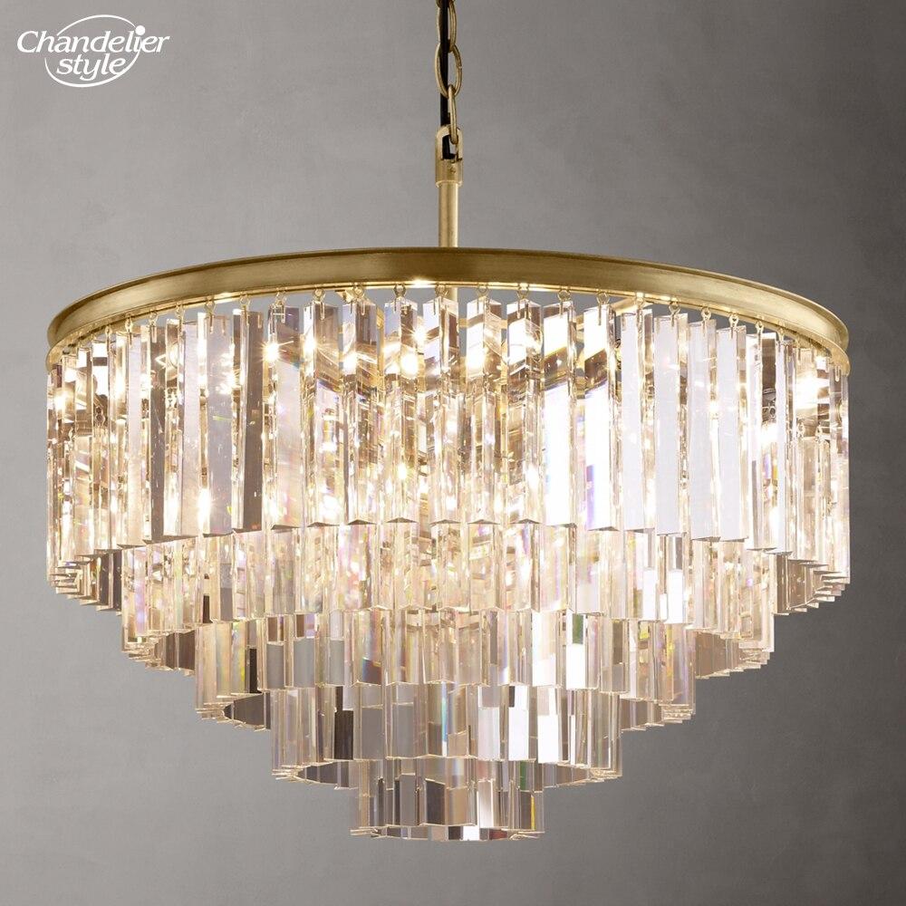 1920's أوديون واضح كريستال أضواء الثريا قلادة نحاس معلق تركيب المصابيح K9 كريستال الثريا نمط