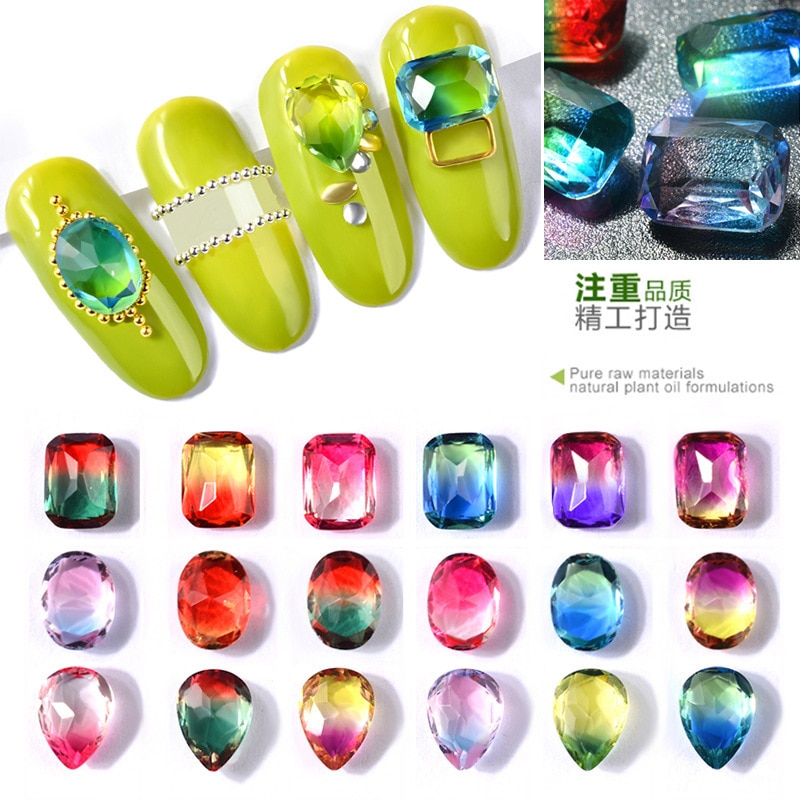 Nail Jewerly Clear Flame Glass Rhinestones for Nails Oval/Rectangle/Waterdrop Glitter Diamond For Nail Art Decor