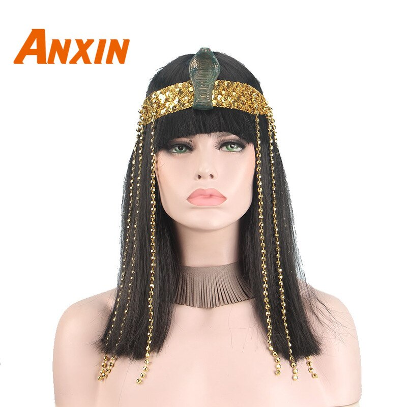 Pelucas negras Queens of Egypt para mujeres con accesorios de serpiente, disfraces sintéticos de fiesta para Halloween, fabricante de pelucas para Cosplay