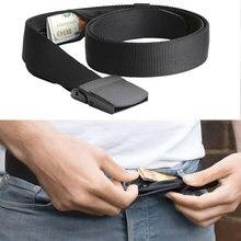 Noverty-cinturones antirrobo para billetera Unisex, cinturón informal de seguridad para dinero, de viaje con bolsillo oculto para dinero en efectivo, cinturón fácil sin Buck