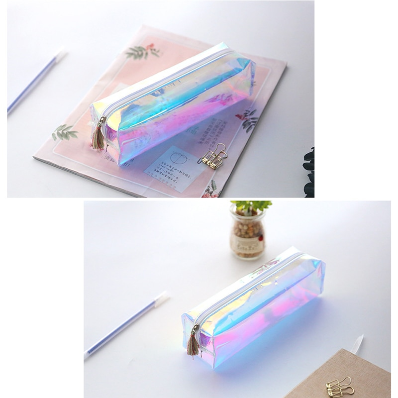 Rectángulo lápiz bolsa de cosméticos de color maquillaje bolsa Kawaii lápiz de la escuela, caso transparente artículos para la mochila del colegio