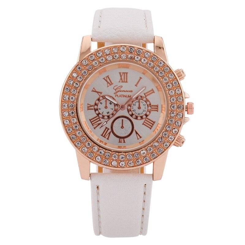 Luxurious Geneva Three Eye Diamond Color Ladies Quartz Watch Roman Numerals White Leather Strap Watc