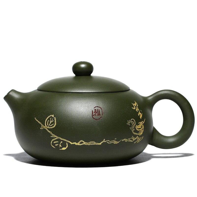 Xishi-وعاء من الطين الأرجواني الخام الأخضر ، طقم شاي ، طين أخضر ، صناعة يدوية