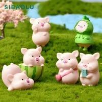 7pcs milk watermelon cute pig figurine cartoon animal model diy home decor miniature fairy garden decoration accessories modern